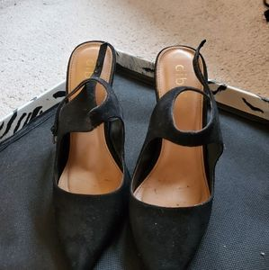 Black suede heel pumps shoes 7.5